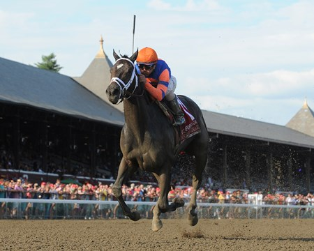 Repole Stable's Stopchargingmaria took over rounding the far turn and drew off to an impressive five-length victory over Unbridled Forever in the Grade I Coaching Club American Oaks at Saratoga Race Course.
