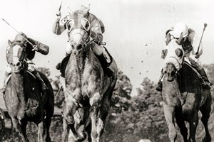 Fio Rito and jockey Les Hulet win the Whitney Handicap August 1, 1981.