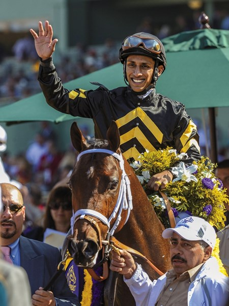 Hightail in the winner's circle, following the 2012 Breeders' Cup Juvenile Sprint.