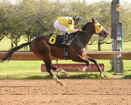 Good Luck Gus took the $252,098 New York Breeders' Futurity at Finger Lakes, securing his first stakes score by 5 1/4 lengths for trainer Rudy Rodriguez.