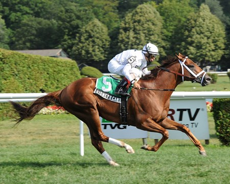 Sidney's Candy wins the Fourstardave at Saratoga on July 31, 2011.