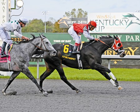 Future Prospect with Edgar Prado up wins the WinStar Kentucky Cup (gr. II) with General Quarters in second.