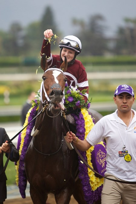 Rosie Napravnik sprinkles flowers on Untapable after their victory in the Grade I Breeders' Cup Distaff.