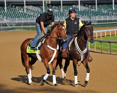 Santa Anita Derby winner Goldencents, gets his first tour of Churchill Downs Sunday morning...