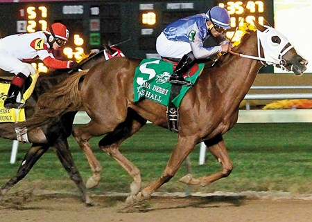 East Hall, winner of the listed Ohio Derby two starts back, shipped back north from his Florida base to win the $507,100 Grade II Indiana Derby for 3-year-olds at Indiana Grand Race Course.