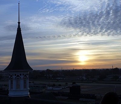 The Saturday sun rises over Churchill Downs, marking the arrival of a long-anticipated Breeders' Cup Day, November 4, 2006.