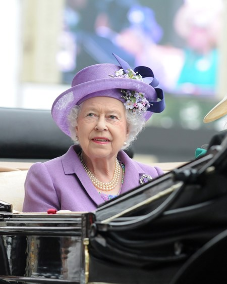The Queen arriving at Royal Ascot.