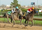 Whiskey Ticket (right) holds off Conquest Curlinate to win the Illinois Derby.
