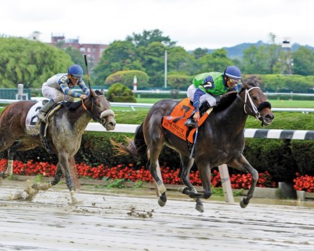 Jay Em Ess Stable's homebred By the Moon upset the $500,000 Grade I Frizette Stakes at odds of 24-1 at Belmont Park, giving trainer Michelle Nevin her first grade I win.
