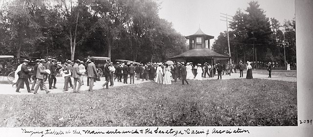 Visitors buying tickets at the main entrance to Saratoga Race Course in 1904.