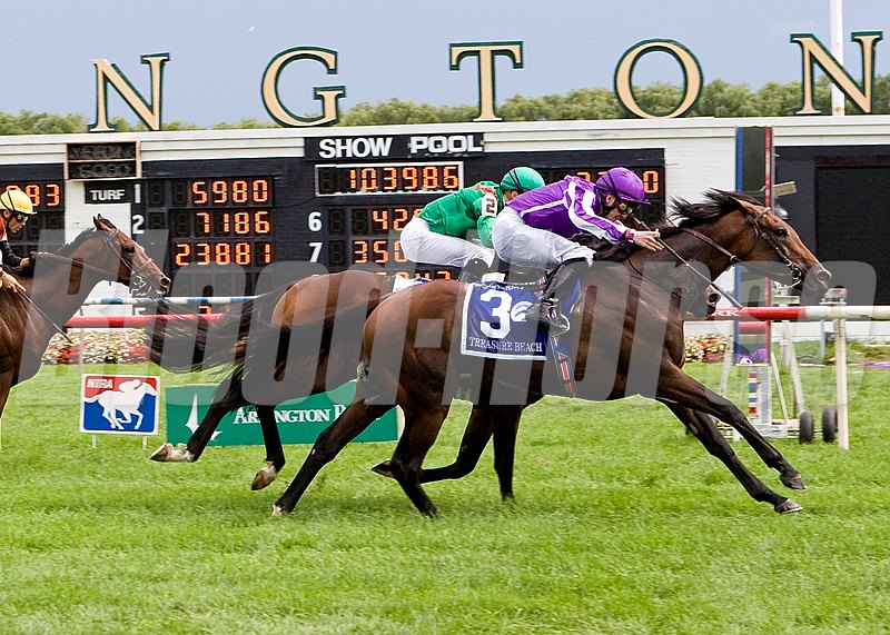 TREASURE BEACH winning the Secretariat at AP on 8-13-11 Jockey Up Colm O'Donoghue