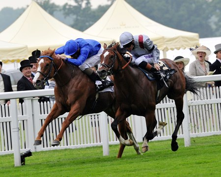 Dawn Approach and Kevin Manning win the St James's Place Stakes at Royal Ascot.