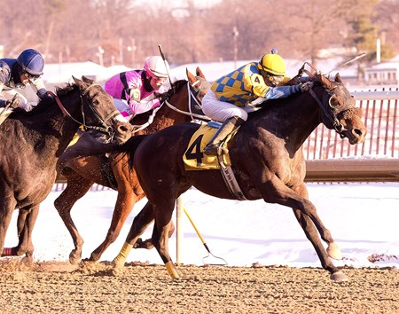 Broad Rule is victorious in the Fire Plug Stakes at Laurel Park in Maryland.