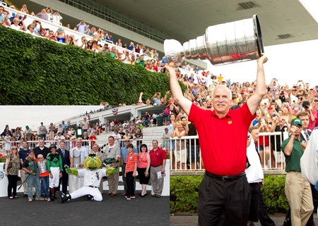 A big Holiday weekend at Arlington International Racecourse saw the Stanley Cup hoisted by Blackhawks Coach Joel Quenneville.