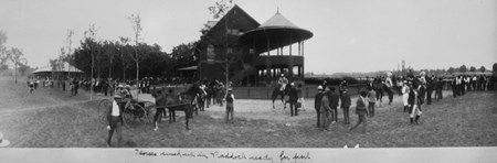 Horses lined up in the paddock ready for post at Saratoga Race Course in 1904.