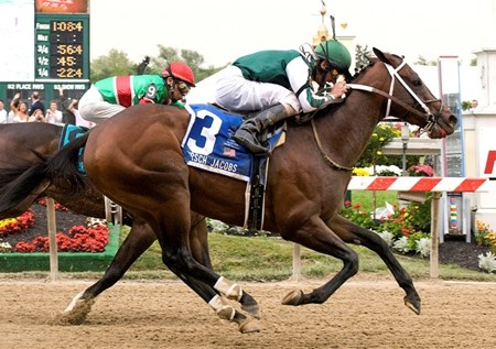 BALTIMORE, 05-17-08 – Vinery Stables and Tom Ludt's Lantana Mob had to tie the track record in order to win the $100,000 Hirsch Jacobs Stakes (G III) for 3-year-olds. Robby Albarado was aboard the son of Posse as he got up to win in the shadow of the wire to beat a very game Silver Edition by a neck in 1:09.1 for the six furlong distance over the fast main track.