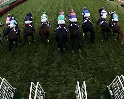 The pack breaks out of the gate during the Breeders' Cup Turf at Churchill Downs in Louisville, Kentucky.