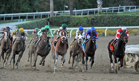 Mucho Macho Man (center) takes aim at race leader Fort Larned, and goes on by, to win the Breeders' Cup Classic at Santa Anita.