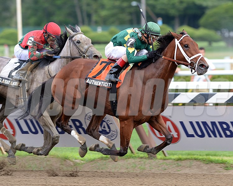 Authenticity and jockey John Velazquez wins the  Grade III Shuvee Handicap at Saratoga.