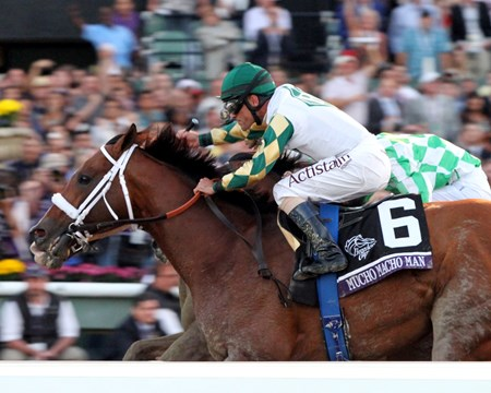 Mucho Macho Man, with Gary Stevens up, wins the Breeders' Cup Classic at Santa Anita Park on November 2, 2013.