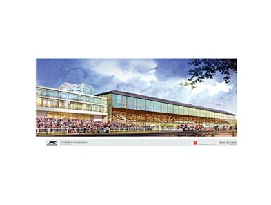 Artist rendering of the planned upgrade of the clubhouse and grandstand at Suffolk Downs.