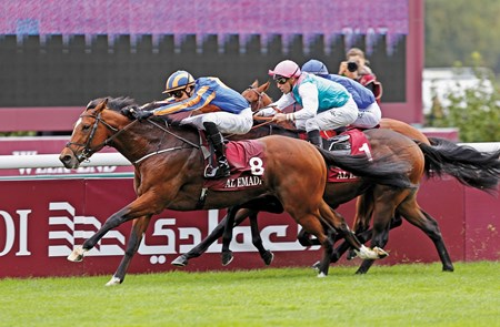 Coolmore and partners were denied a sweep of the 2-year-old races at Longchamp when Gleneagles lost the Qatar Prix Jean-Luc Lagardere (Grand Criterium, Fr-I) in the stewards' room. In finishing first for the fifth consecutive time, Gleneagles came over and hampered rivals approaching the finish line before a half-length tally. After an inquiry, he was placed third while Full Mast and Territories were elevated to first and second, respectively.