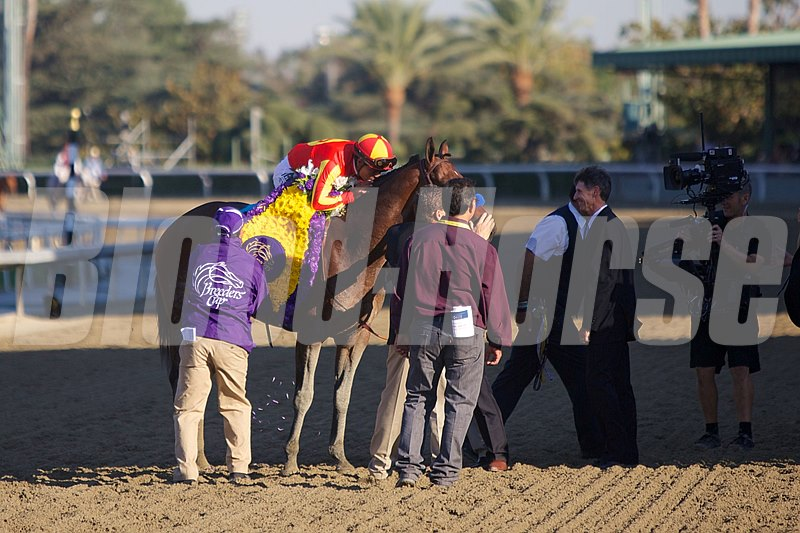 Martin Garcia celebrates winning the Xpressbet Breeders' Cup Sprint (gr. I).