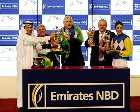 Connections of Shea Shea at the trophy presentation after a victory in the Al Quoz Sprint.