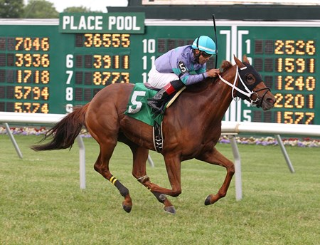 Street Gem #5 with Daniel Coa riding won the Revidere Stakes at Monmouth Park.