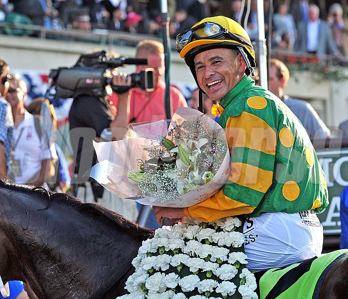 Mike Smith can't hide his happiness after winning the Belmont Stakes.