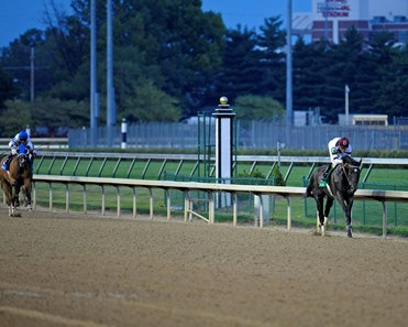 Royal Delta in midstretch has a commanding lead during the 2012 Fleur de Lis (G2)  at Churchill Downs on June 16, 2012.