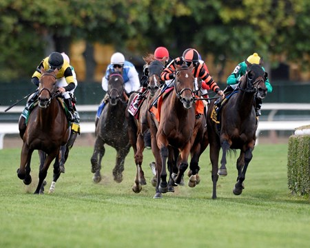 Priscilla Vaccarezza's Little Mike got back on track after four consecutive losses with a narrow win in the $600,000 Joe Hirsch Turf Classic Invitational (gr. IT) at Belmont Park Sept. 28.