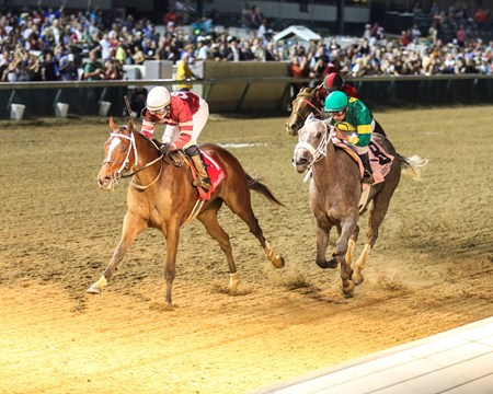 Untapable, under a patient ride from Rosie Napravnik, collared favored Stonetastic past in deep stretch and edged away to a half-length victory in the $168,150 Grade II Pocahontas Stakes at Churchill Downs.
