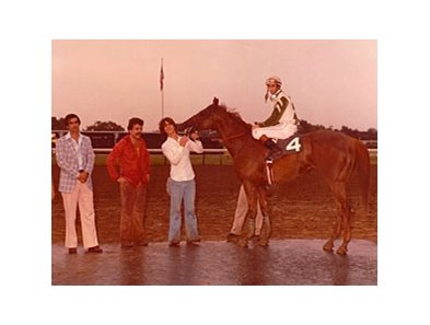 Groom Terry Finley and jockey Tom Albertrani in 1979 at Monmouth Park with Stockton.