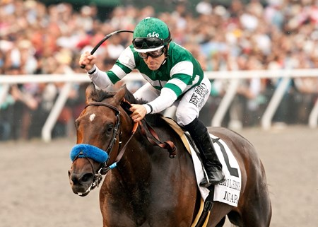 Hronis Racing's Iotapa and jockey Joe Talamo win the Grade I $300,000 Clement L. Hirsch Stakes at Del Mar on August 2, 2014.