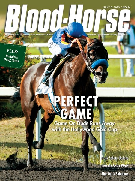 July 13, 2013 Issue 26 cover of The Blood-Horse featuring Game On Dude and jockey Mike Smith winning the Hollywood Gold Cup at Hollywood Park.