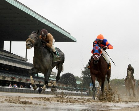 Ever Rider (#5) with Javier Castellano beat Village Warrioer (#6) with Irad Ortiz to win The 1st Running of The Temperence Hill Invitational at Belmont Park.