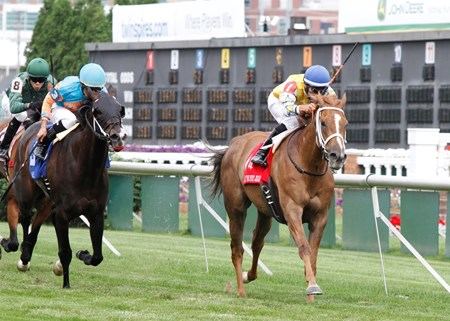 Honey Hues held off the stretch challenge from I'm Already Sexy at Churchill Downs to win the $100,000 Grade III Early Times Mint Julep Handicap earning her first career stakes victory.