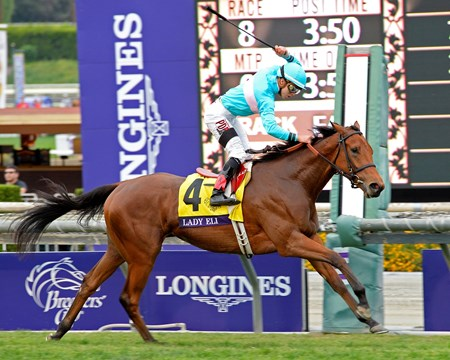 Sheep Pond Partners' Lady Eli remained undefeated in three starts with a dynamic victory in the $1,000,000 Breeders' Cup Juvenile Fillies Turf at Santa Anita Park.