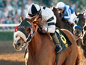 Warren's Veneda wins the 2015 Santa Maria Stakes.