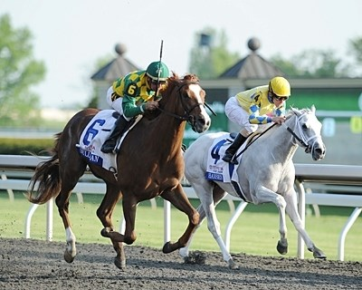 Dullahan with Kent Desormeaux up, wins the Bluegrass Stakes.