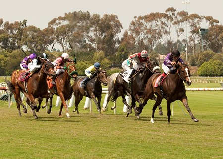#1 Kinz Funky Monkey and jockey Victor Espinoza lead the way to win the 2013 Manhattan Beach Stakes at Betfair Hollywood Park.