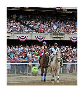 A reported crowd of 47,562 turned out for the day's races at Belmont Park.