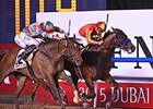 Secret Circle holds off Super Jockey to win the Dubai Golden Shaheen.