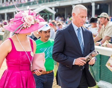 Trainer Todd Pletcher heads to the Winner's Circle.