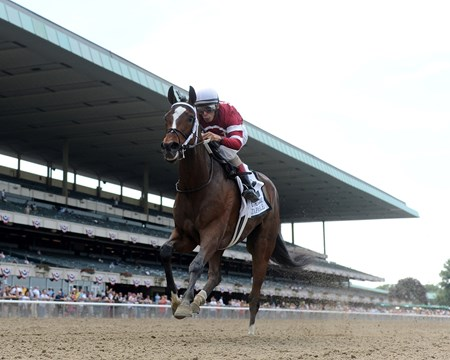 Ron Winchell's Longines Kentucky Oaks victress Untapable continued her perfect season, starting for the first time since her Oaks win and running away with the $300,000 Grade I Mother Goose Stakes at Belmont Park.