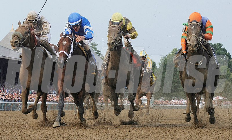 Alpha with jockey Ramon Dominguez, dead heats with Golden Ticket with jockey David Cohen for the win in the 143rd running of The Travers Stakes  at the Saratoga Race Course.
