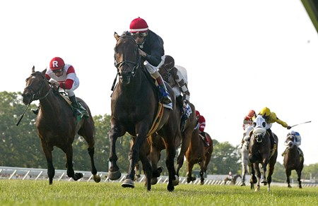 Boisterous #3 (C) with John Velazquez up wins the Grade II $200,000 Monmouth Stakes at Monmouth Park in Oceanport, N.J.