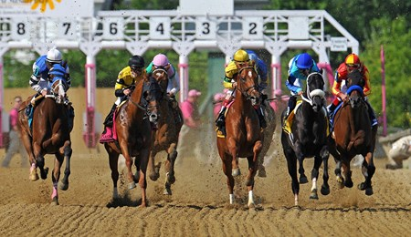 Start of the 2013 Black Eyed Susan Stakes. Eventual winner Fiftyshadesofhay is on the rail...