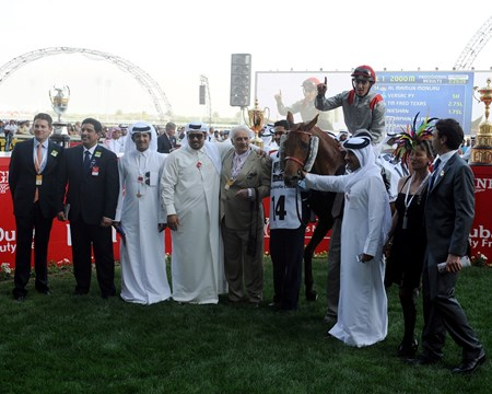 Al Manun Monlau in the winner's circle after winning the Dubai Kahaya Classic.